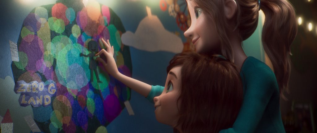 June, left, and her mom in a scene from the animated film, WONDER PARK by Paramount Animation and Nickelodeon Movies